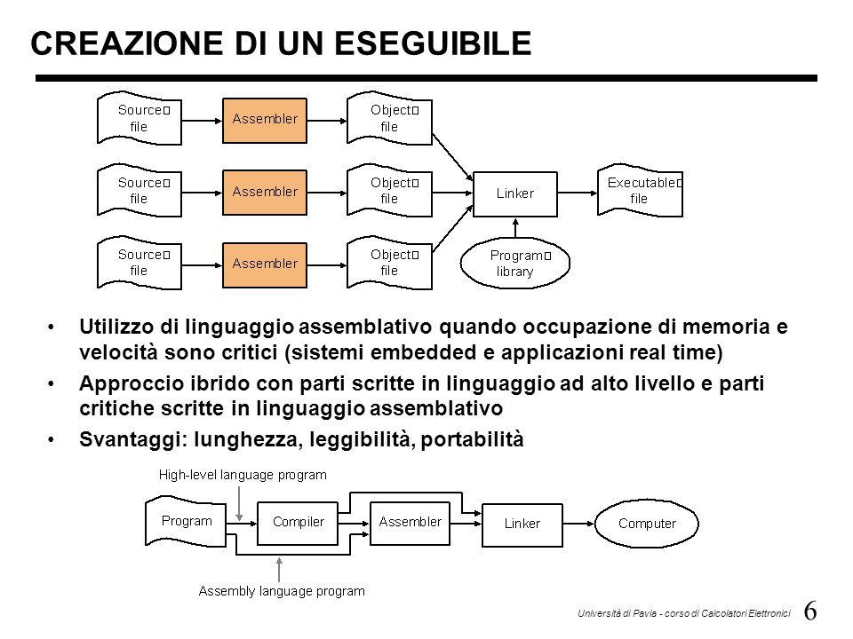 6 Università di Pavia - corso di Calcolatori Elettronici CREAZIONE DI UN ESEGUIBILE Utilizzo di linguaggio assemblativo quando occupazione di memoria