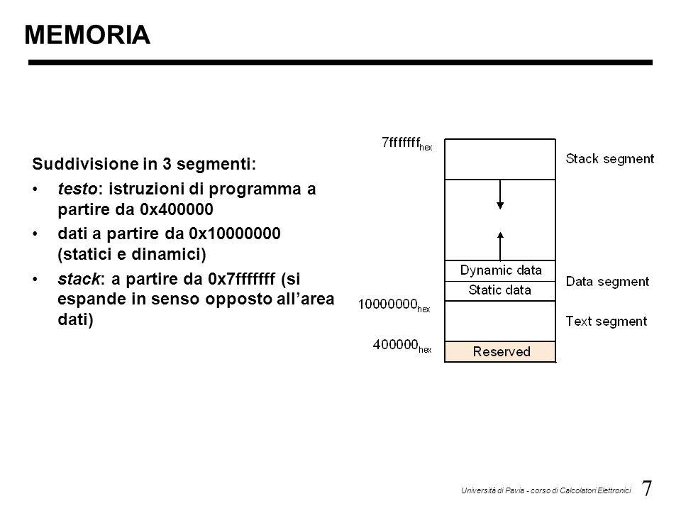 7 Università di Pavia - corso di Calcolatori Elettronici Suddivisione in 3 segmenti: testo: istruzioni di programma a partire da 0x400000 dati a partire da 0x10000000 (statici e dinamici) stack: a partire da 0x7fffffff (si espande in senso opposto all'area dati) MEMORIA