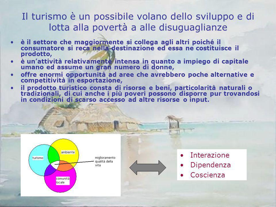 Il turismo è un possibile volano dello sviluppo e di lotta alla povertà a alle disuguaglianze è il settore che maggiormente si collega agli altri poic