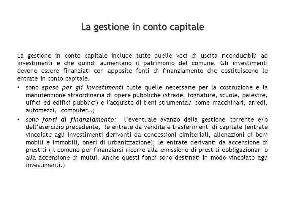 La gestione in conto capitale La gestione in conto capitale include tutte quelle voci di uscita riconducibili ad investimenti e che quindi aumentano il patrimonio del comune.