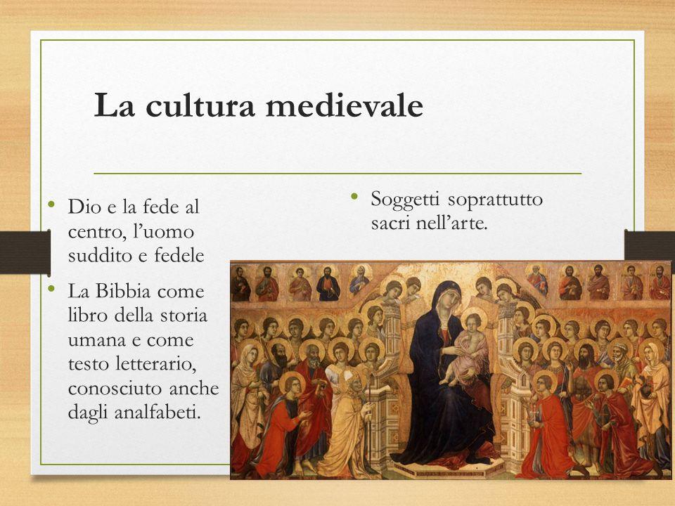 La cultura medievale Dio e la fede al centro, l'uomo suddito e fedele La Bibbia come libro della storia umana e come testo letterario, conosciuto anche dagli analfabeti.