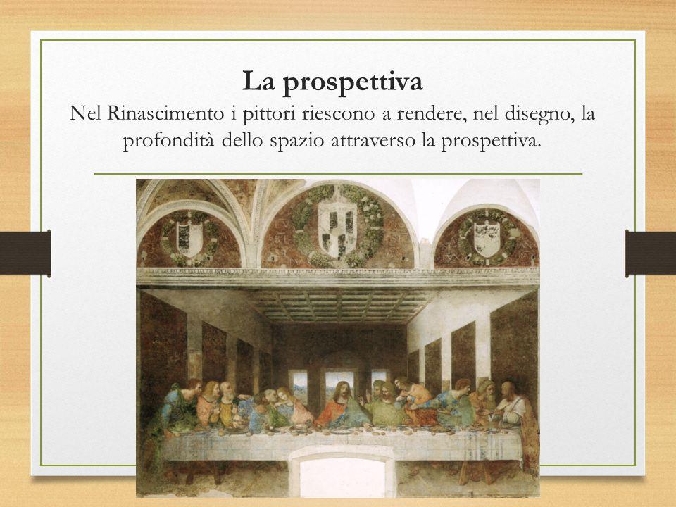 La prospettiva Nel Rinascimento i pittori riescono a rendere, nel disegno, la profondità dello spazio attraverso la prospettiva.