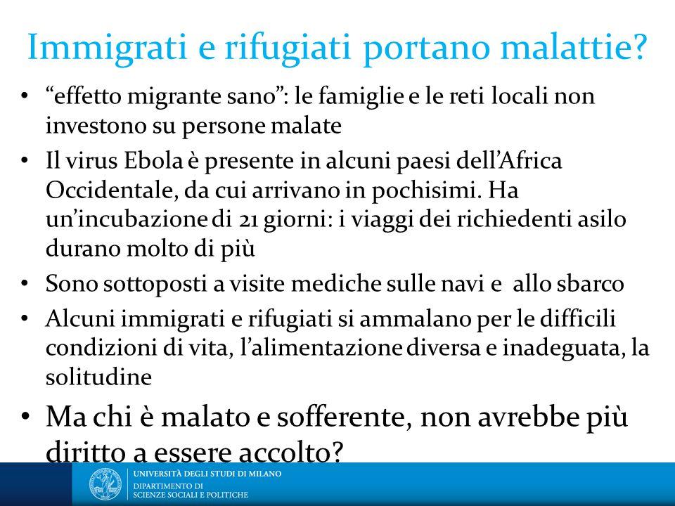 """Immigrati e rifugiati portano malattie? """"effetto migrante sano"""": le famiglie e le reti locali non investono su persone malate Il virus Ebola è present"""