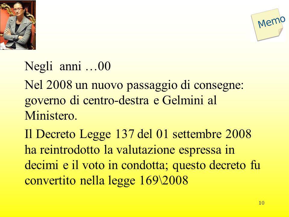 Negli anni …00 Nel 2008 un nuovo passaggio di consegne: governo di centro-destra e Gelmini al Ministero. Il Decreto Legge 137 del 01 settembre 2008 ha