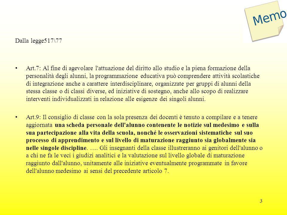Dalla legge517\77 Art.7: Al fine di agevolare l'attuazione del diritto allo studio e la piena formazione della personalità degli alunni, la programmaz