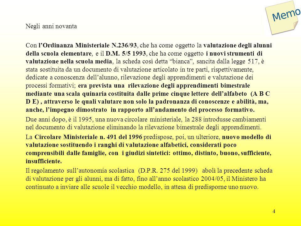 Negli anni novanta Con l'Ordinanza Ministeriale N.236/93, che ha come oggetto la valutazione degli alunni della scuola elementare, e il D.M. 5/5 1993,