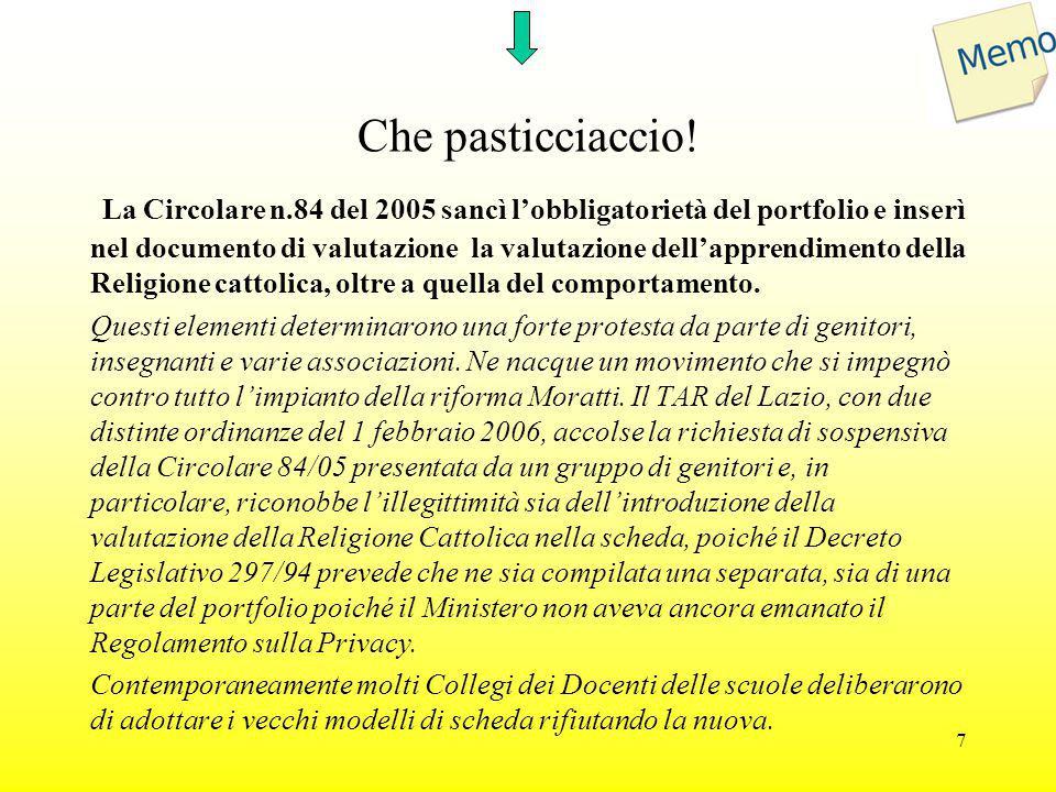 Che pasticciaccio! La Circolare n.84 del 2005 sancì l'obbligatorietà del portfolio e inserì nel documento di valutazione la valutazione dell'apprendim