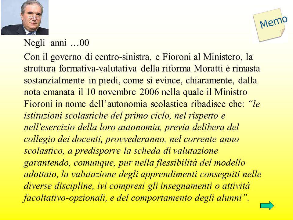 Negli anni …00 Con il governo di centro-sinistra, e Fioroni al Ministero, la struttura formativa-valutativa della riforma Moratti è rimasta sostanzial