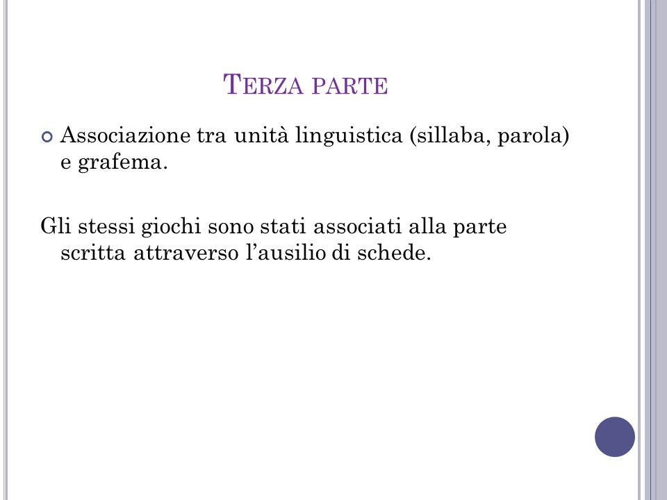 T ERZA PARTE Associazione tra unità linguistica (sillaba, parola) e grafema. Gli stessi giochi sono stati associati alla parte scritta attraverso l'au