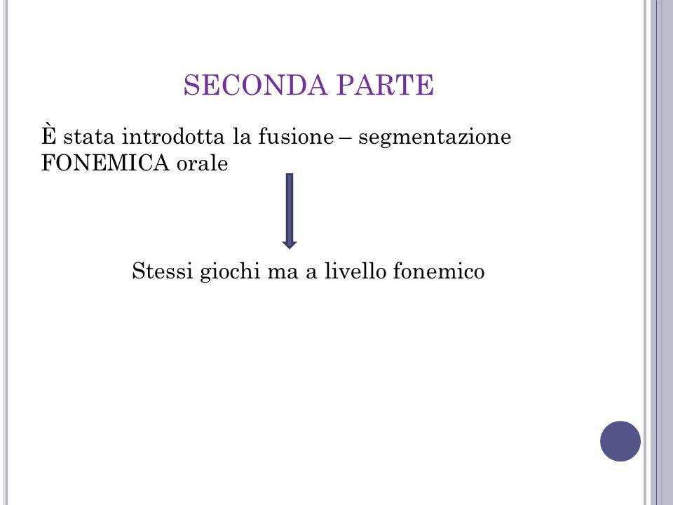SECONDA PARTE È stata introdotta la fusione – segmentazione FONEMICA orale Stessi giochi ma a livello fonemico