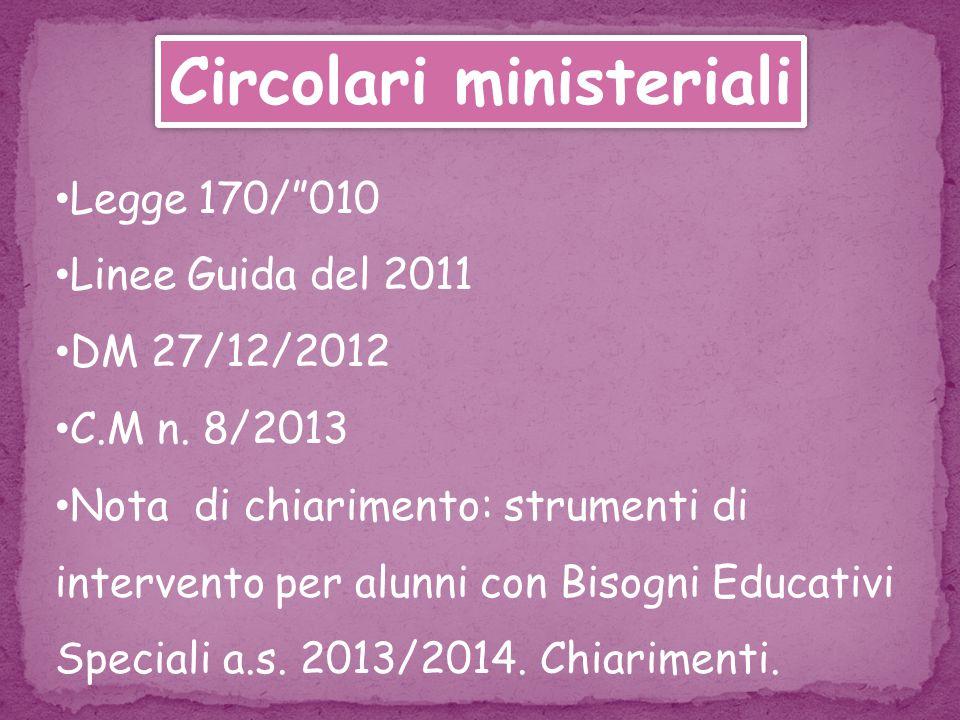 Circolari ministeriali Legge 170/ 010 Linee Guida del 2011 DM 27/12/2012 C.M n.