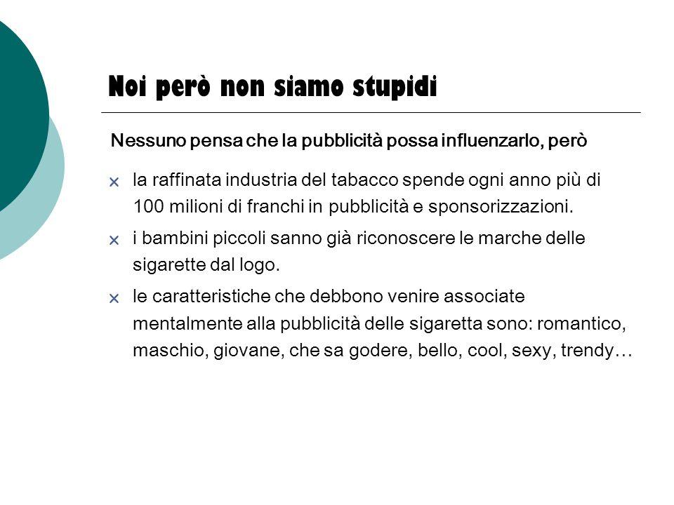Noi però non siamo stupidi  la raffinata industria del tabacco spende ogni anno più di 100 milioni di franchi in pubblicità e sponsorizzazioni.  i b