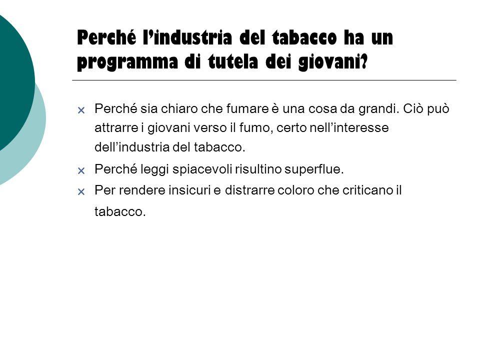 Perché l'industria del tabacco ha un programma di tutela dei giovani?  Perché sia chiaro che fumare è una cosa da grandi. Ciò può attrarre i giovani