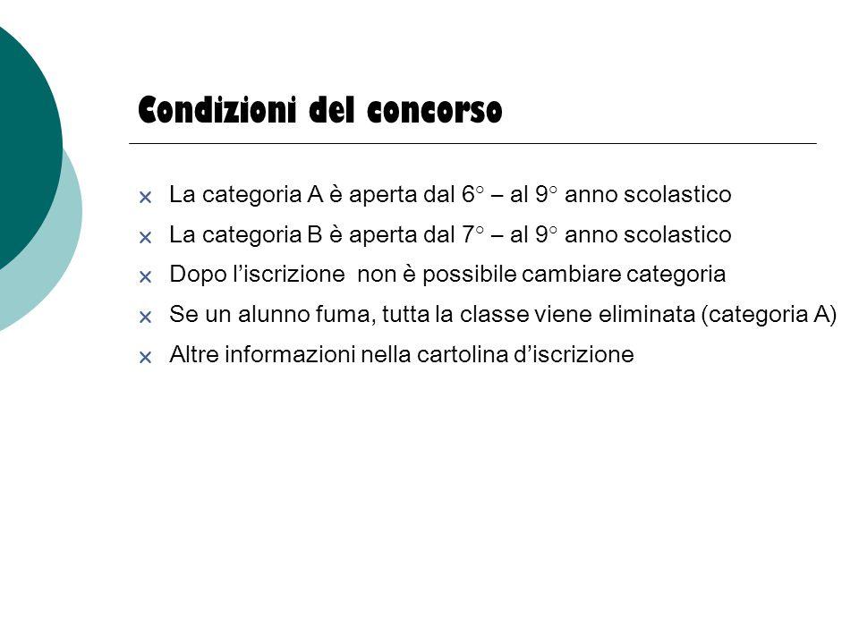 Condizioni del concorso  La categoria A è aperta dal 6° – al 9° anno scolastico  La categoria B è aperta dal 7° – al 9° anno scolastico  Dopo l'isc