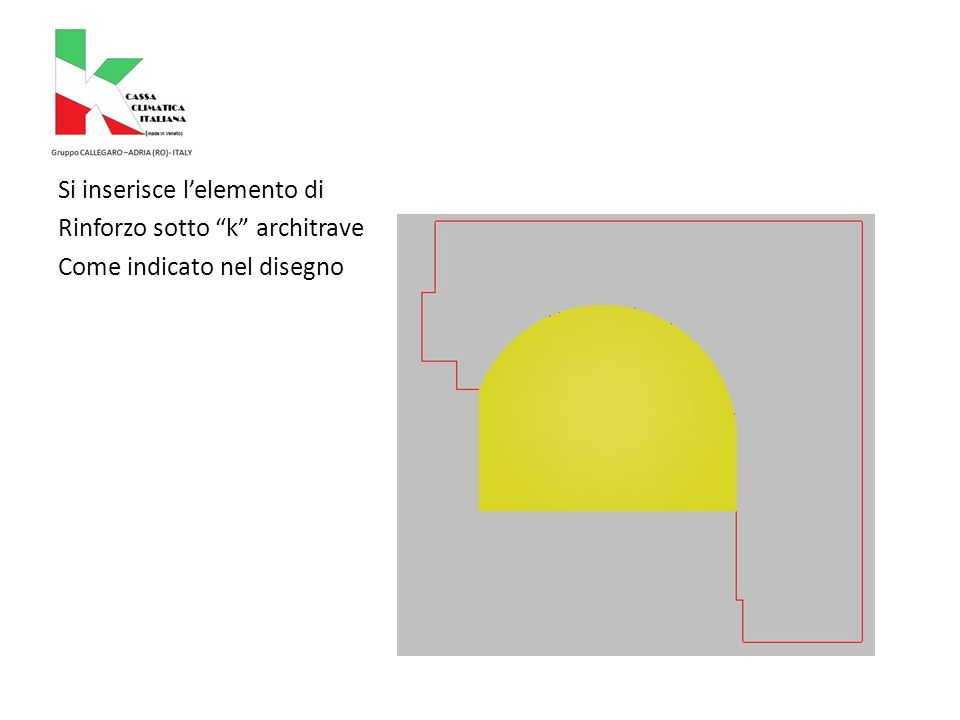L Si inserisce l'elemento di Rinforzo sotto k architrave Come indicato nel disegno