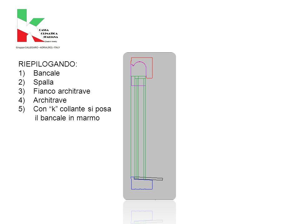 RIEPILOGANDO: 1)Bancale 2)Spalla 3)Fianco architrave 4)Architrave 5)Con k collante si posa il bancale in marmo
