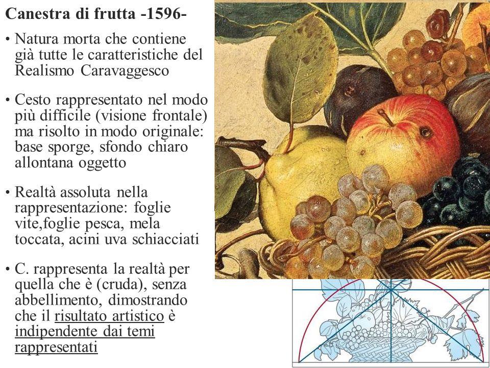 Natura morta che contiene già tutte le caratteristiche del Realismo Caravaggesco Cesto rappresentato nel modo più difficile (visione frontale) ma riso