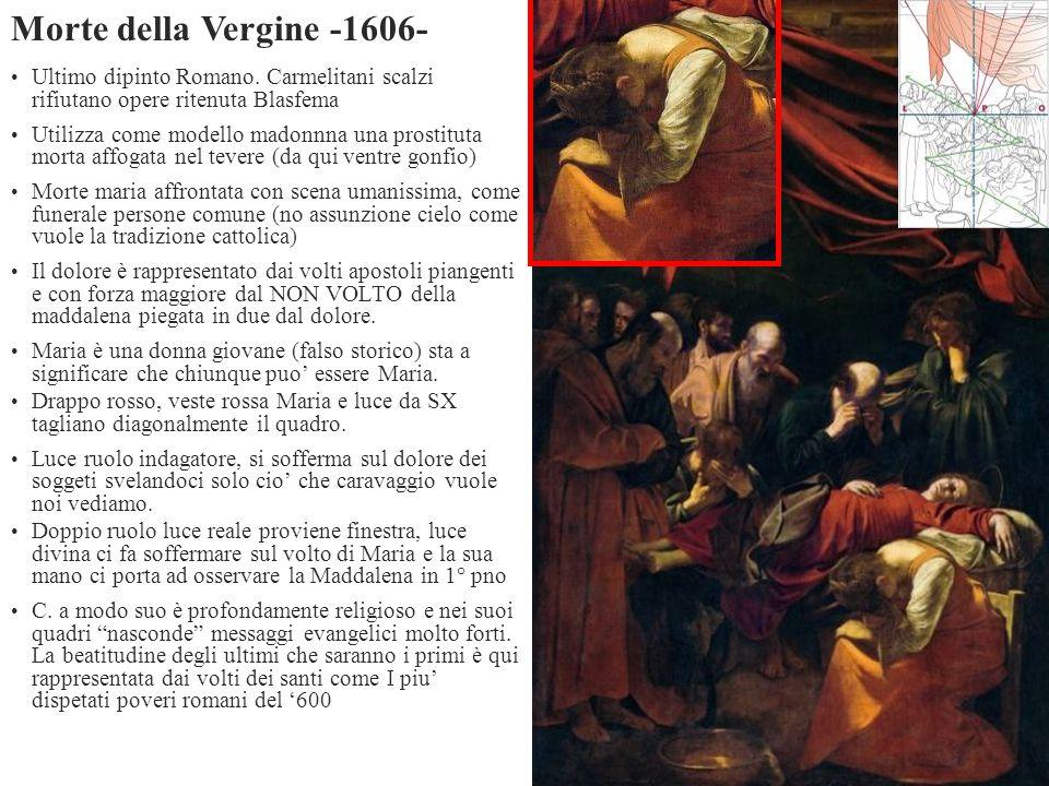 Ultimo dipinto Romano. Carmelitani scalzi rifiutano opere ritenuta Blasfema Utilizza come modello madonnna una prostituta morta affogata nel tevere (d