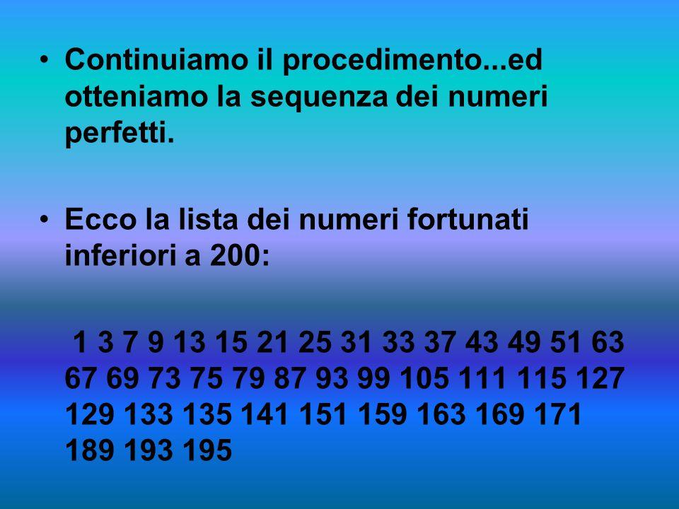 Continuiamo il procedimento...ed otteniamo la sequenza dei numeri perfetti.