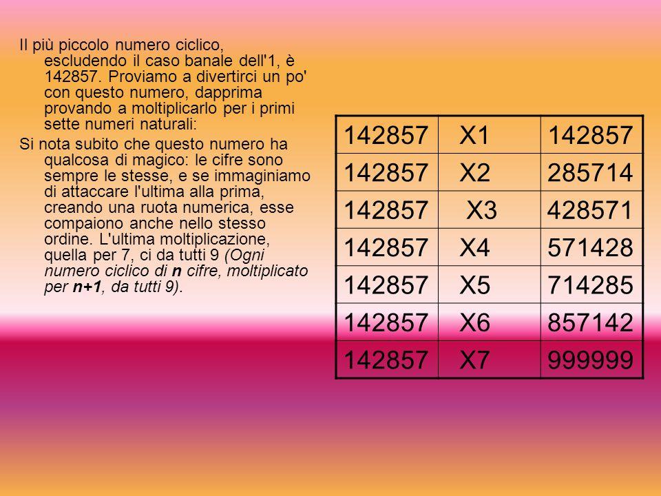 Il più piccolo numero ciclico, escludendo il caso banale dell 1, è 142857.