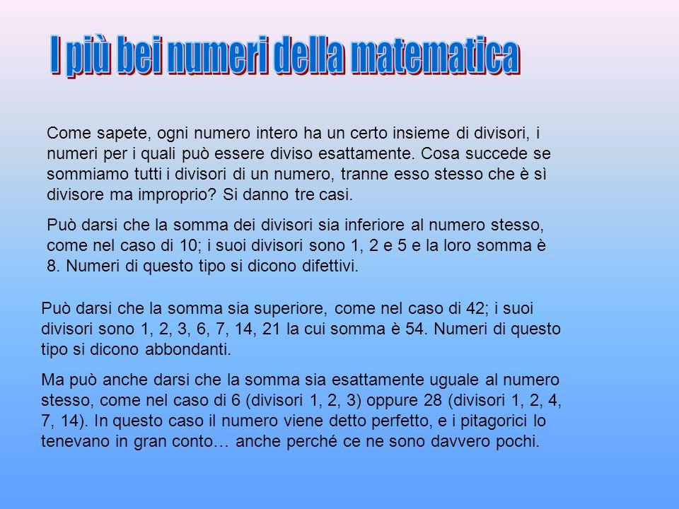 Già Euclide aveva dimostrato che se k è un numero tale che 2 (elevato a k) - 1 è primo, allora il numero 2 (elevato a k-1) per 2 (elevato a k) -1 è perfetto.