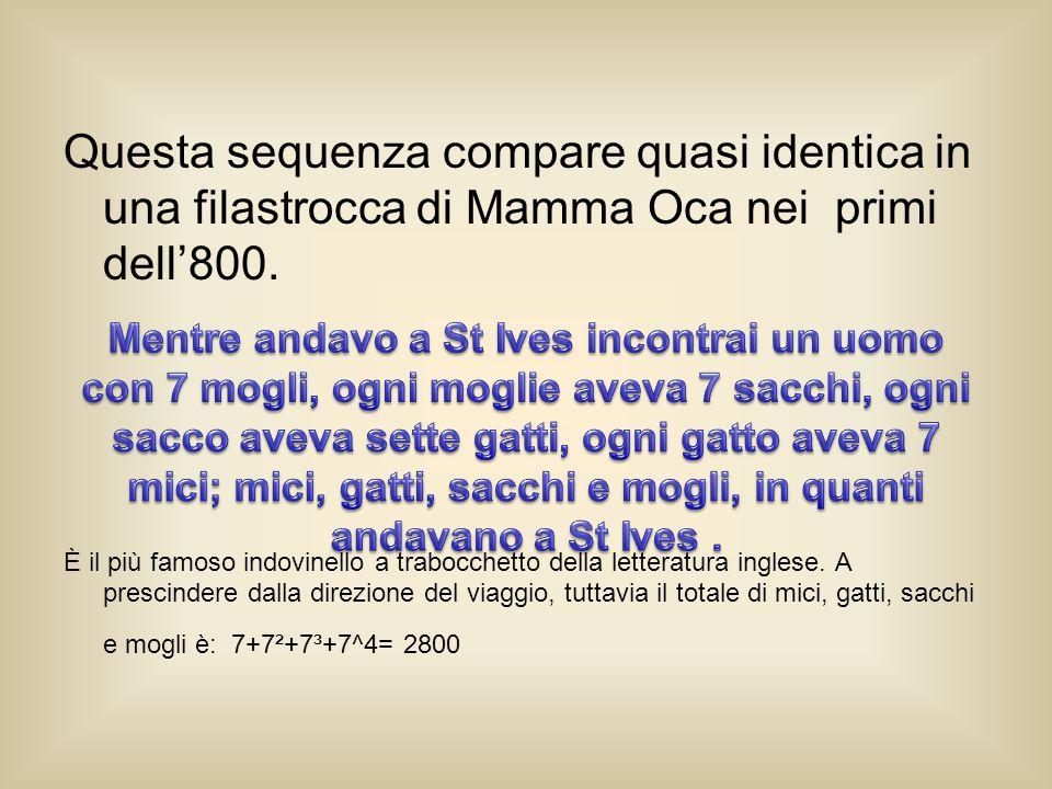 Questa sequenza compare quasi identica in una filastrocca di Mamma Oca nei primi dell'800.