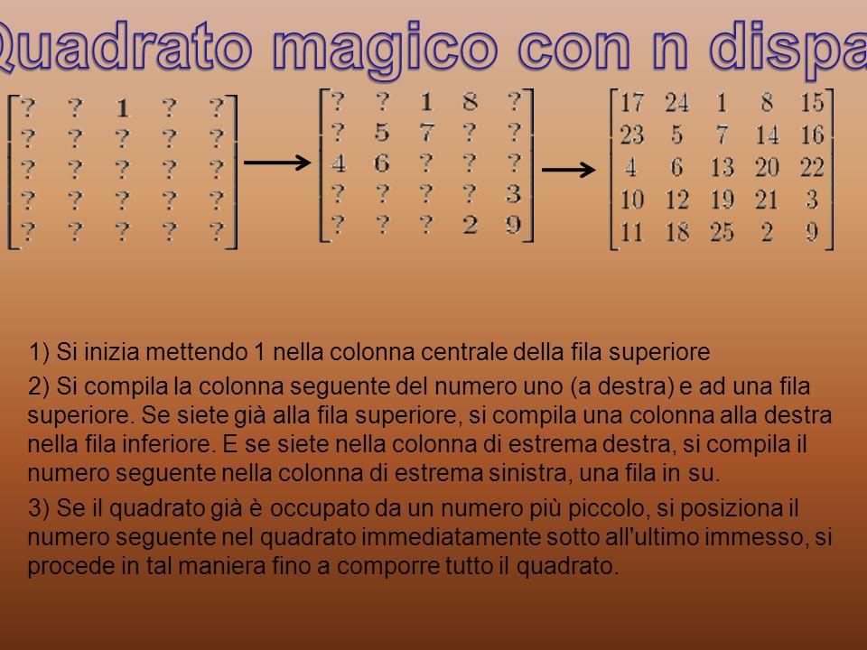1) Si inizia mettendo 1 nella colonna centrale della fila superiore 2) Si compila la colonna seguente del numero uno (a destra) e ad una fila superiore.