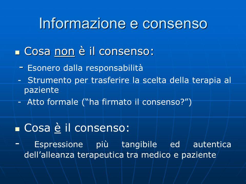 Informazione e consenso Cosa non è il consenso: Cosa non è il consenso: - - Esonero dalla responsabilità - Strumento per trasferire la scelta della te