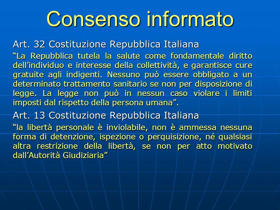"""Consenso informato Art. 32 Costituzione Repubblica Italiana """"La Repubblica tutela la salute come fondamentale diritto dell'individuo e interesse della"""