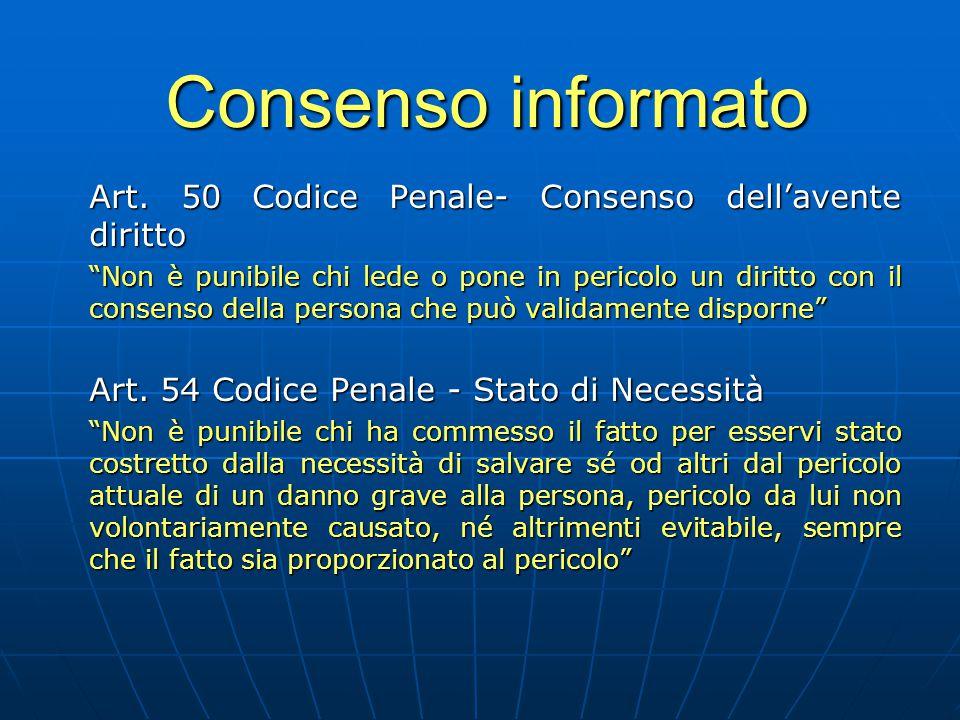 """Consenso informato Art. 50 Codice Penale- Consenso dell'avente diritto """"Non è punibile chi lede o pone in pericolo un diritto con il consenso della pe"""