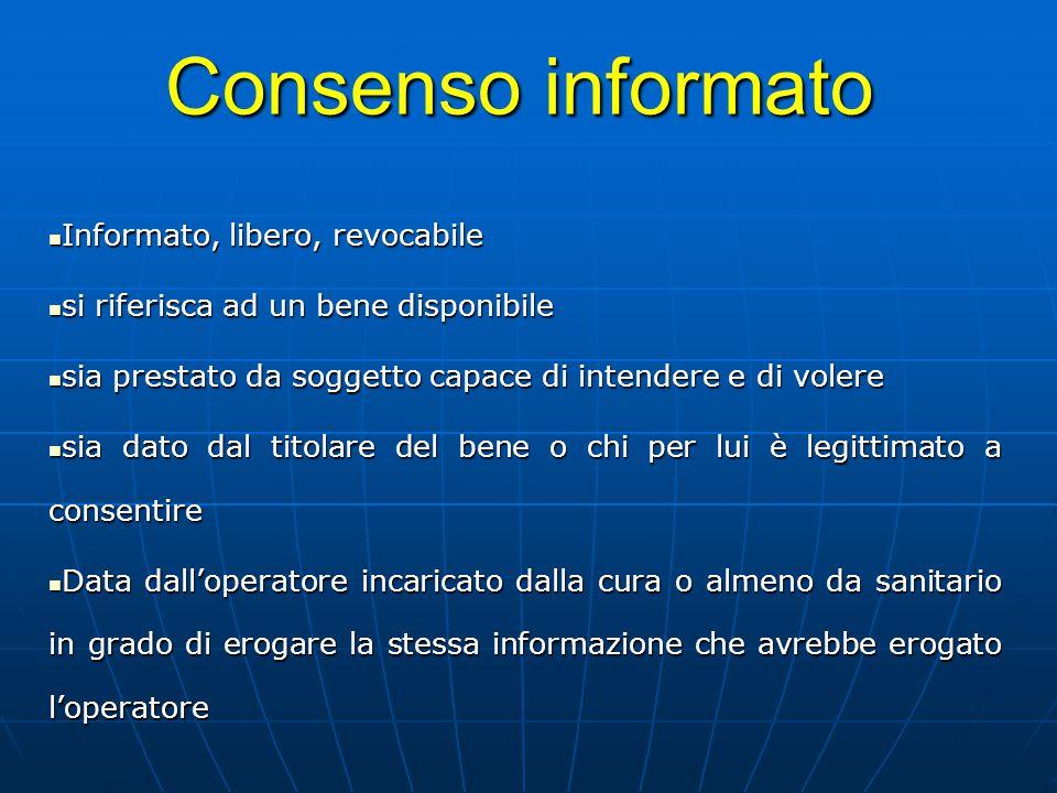 Consenso informato Informato, libero, revocabile Informato, libero, revocabile si riferisca ad un bene disponibile si riferisca ad un bene disponibile