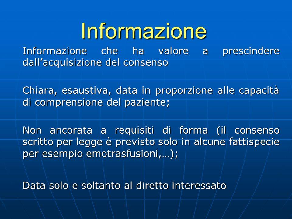 Informazione Informazione che ha valore a prescindere dall'acquisizione del consenso Chiara, esaustiva, data in proporzione alle capacità di comprensi