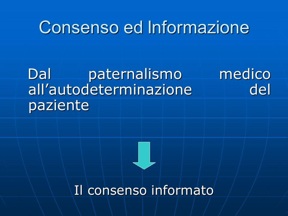 Consenso ed Informazione Dal paternalismo medico all'autodeterminazione del paziente Dal paternalismo medico all'autodeterminazione del paziente Il co