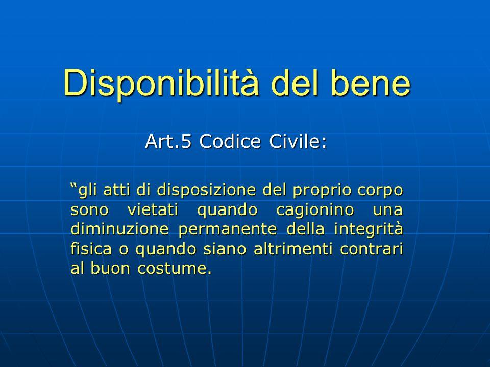 """Disponibilità del bene Art.5 Codice Civile: """"gli atti di disposizione del proprio corpo sono vietati quando cagionino una diminuzione permanente della"""
