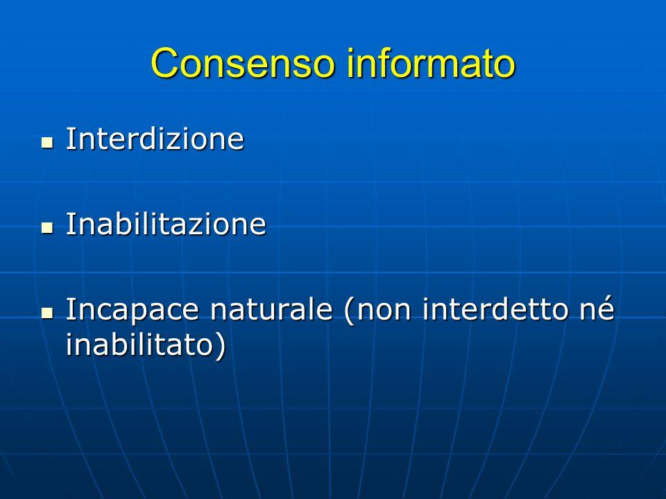 Consenso informato Interdizione Interdizione Inabilitazione Inabilitazione Incapace naturale (non interdetto né inabilitato) Incapace naturale (non in