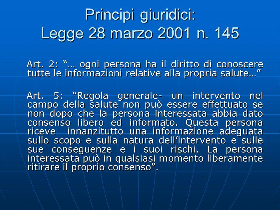 """Principi giuridici: Legge 28 marzo 2001 n. 145 Art. 2: """"… ogni persona ha il diritto di conoscere tutte le informazioni relative alla propria salute…"""""""