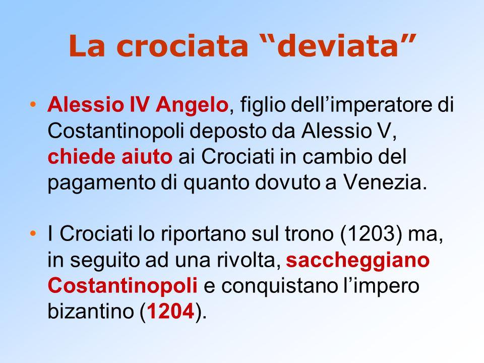 La crociata deviata Alessio IV Angelo, figlio dell'imperatore di Costantinopoli deposto da Alessio V, chiede aiuto ai Crociati in cambio del pagamento di quanto dovuto a Venezia.