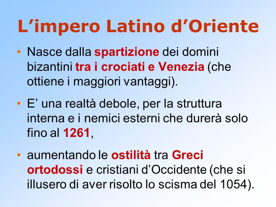 L'impero Latino d'Oriente Nasce dalla spartizione dei domini bizantini tra i crociati e Venezia (che ottiene i maggiori vantaggi).