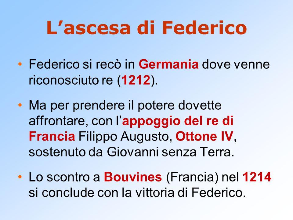 L'ascesa di Federico Federico si recò in Germania dove venne riconosciuto re (1212). Ma per prendere il potere dovette affrontare, con l'appoggio del
