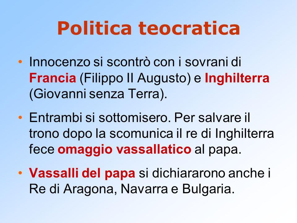 Politica teocratica Innocenzo si scontrò con i sovrani di Francia (Filippo II Augusto) e Inghilterra (Giovanni senza Terra). Entrambi si sottomisero.