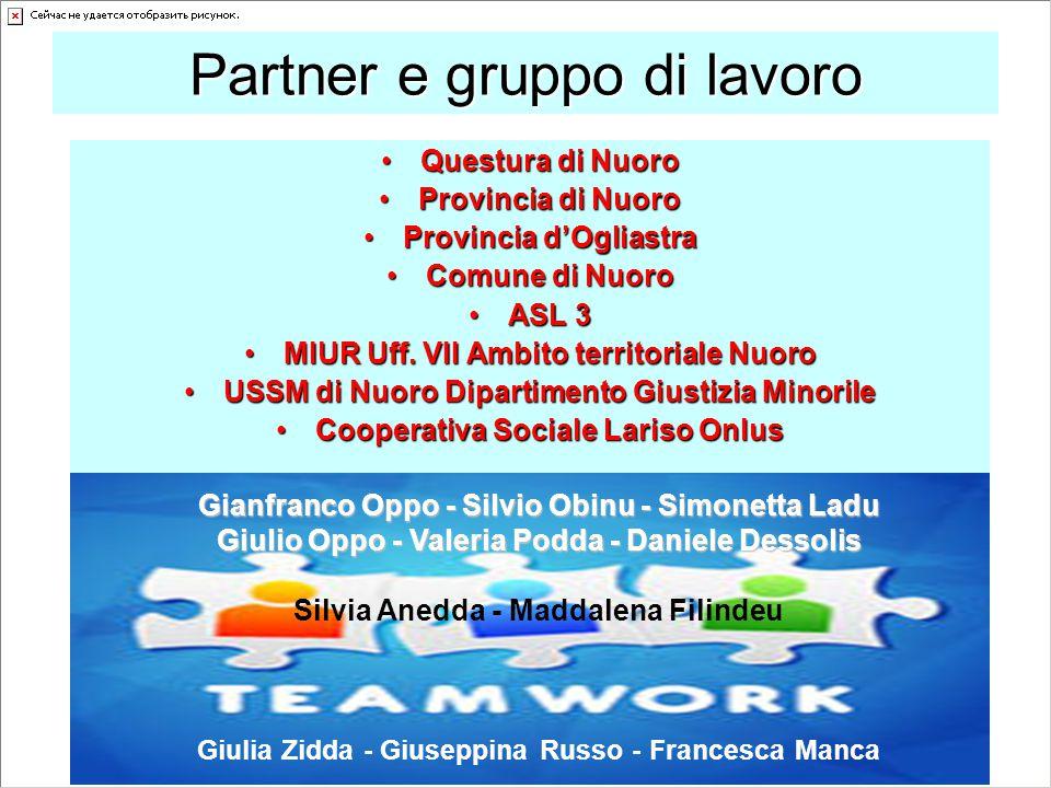 Partner e gruppo di lavoro Questura di NuoroQuestura di Nuoro Provincia di NuoroProvincia di Nuoro Provincia d'OgliastraProvincia d'Ogliastra Comune d