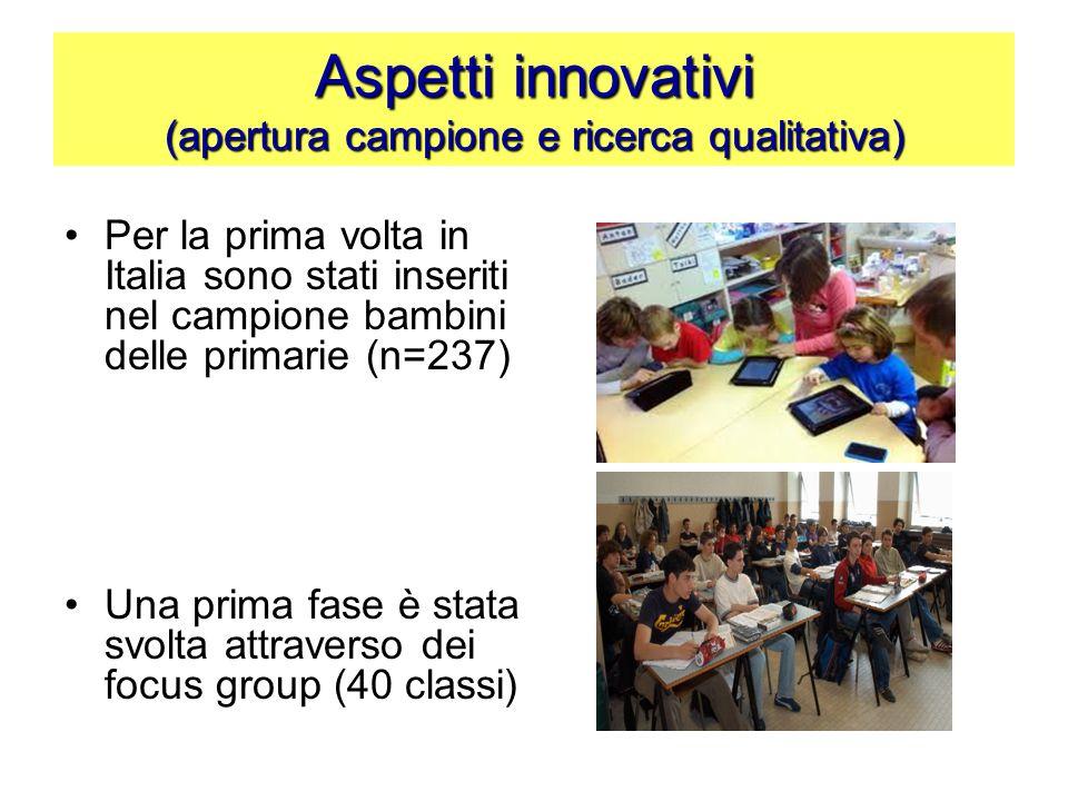 Aspetti innovativi (apertura campione e ricerca qualitativa) Per la prima volta in Italia sono stati inseriti nel campione bambini delle primarie (n=2