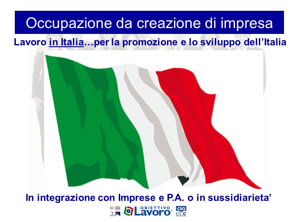 Lavoro in Italia…per la promozione e lo sviluppo dell'Italia In integrazione con Imprese e P.A. o in sussidiarieta' Occupazione da creazione di impres
