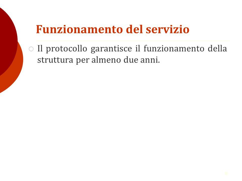 8 Funzionamento del servizio  Il protocollo garantisce il funzionamento della struttura per almeno due anni.
