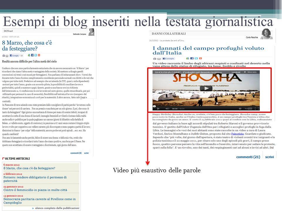 Esempi di blog inseriti nella testata giornalistica Video più esaustivo delle parole