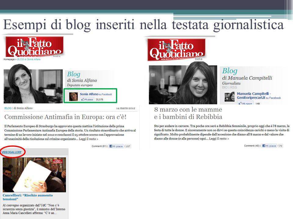 Esempi di blog inseriti nella testata giornalistica
