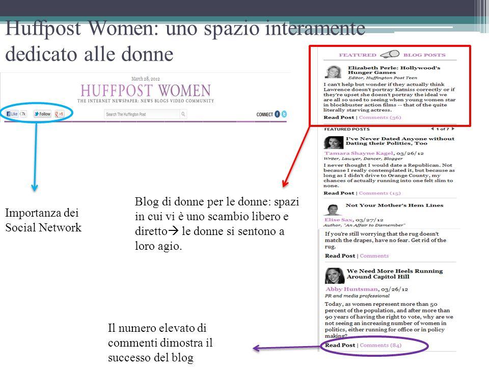 Huffpost Women: uno spazio interamente dedicato alle donne Blog di donne per le donne: spazi in cui vi è uno scambio libero e diretto  le donne si se