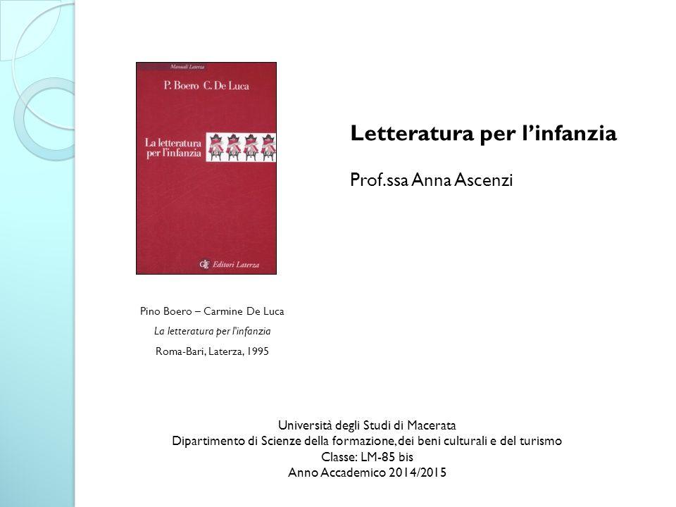 Pino Boero – Carmine De Luca La letteratura per l'infanzia Roma-Bari, Laterza, 1995 Letteratura per l'infanzia Prof.ssa Anna Ascenzi Università degli