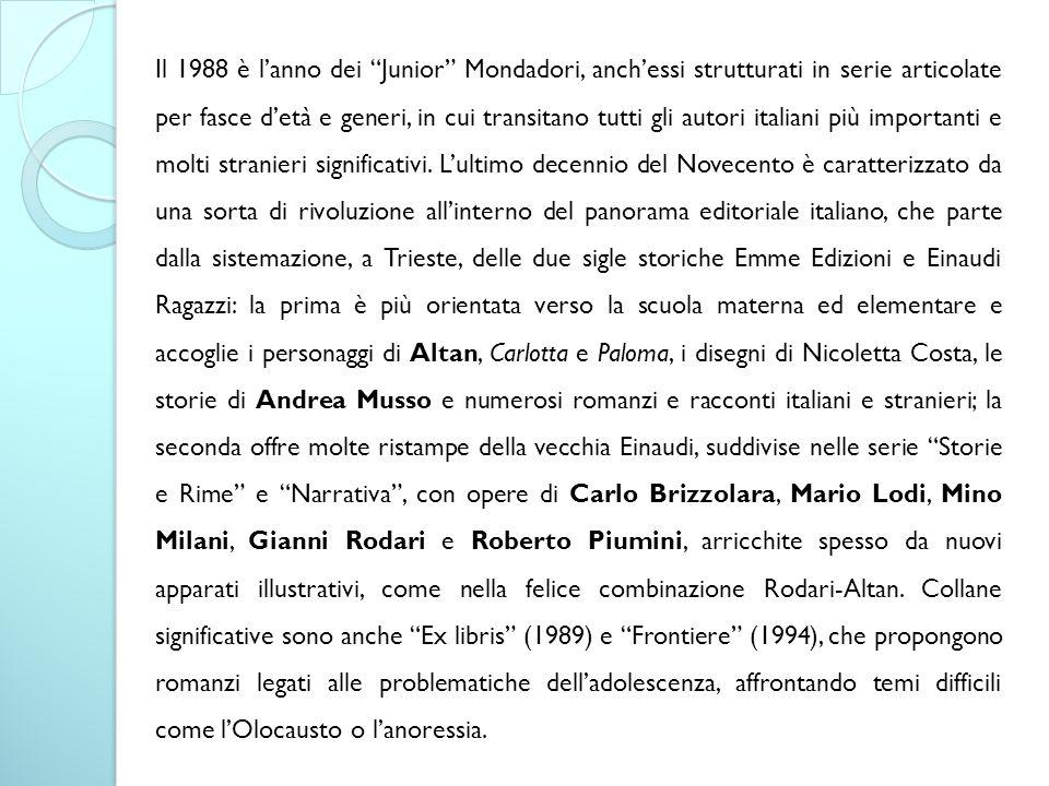 """Il 1988 è l'anno dei """"Junior"""" Mondadori, anch'essi strutturati in serie articolate per fasce d'età e generi, in cui transitano tutti gli autori italia"""