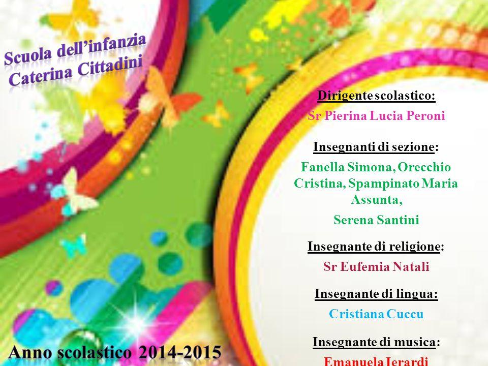 Dirigente scolastico: Sr Pierina Lucia Peroni Insegnanti di sezione: Fanella Simona, Orecchio Cristina, Spampinato Maria Assunta, Serena Santini Inseg